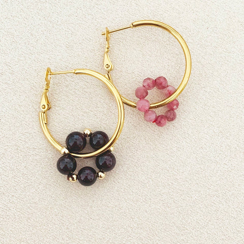 Pink Tourmaline & Garnet Sucre Donut Earrings
