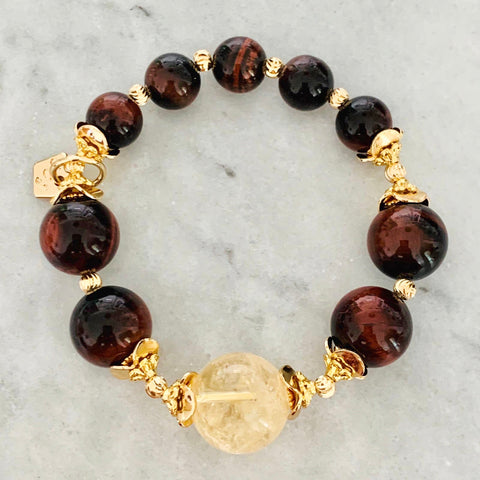 Citrine & Red Tigereye Bracelet