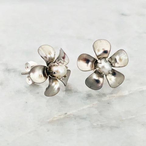 Baroque Pearl Floral Stud Earrings