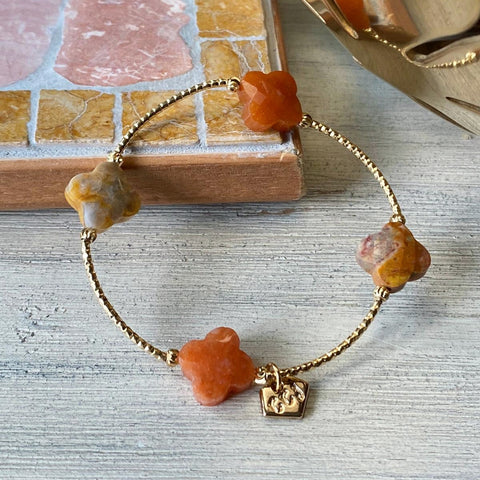Crazy Lace Agate & Orange Aventurine Clover La Grace Bracelet