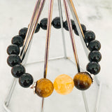 Deluxe Citrine, Tigereye & Black Tourmaline Men Bracelet
