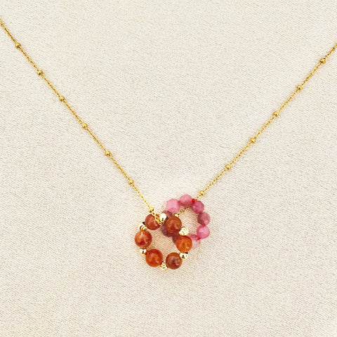 Pink Tourmaline & Rabbit Hair Rutilated Quartz Sucre Donut Necklace