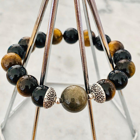 Gold Sheen. Obsidian, Black Tourmaline & Tigereye Men Bracelet