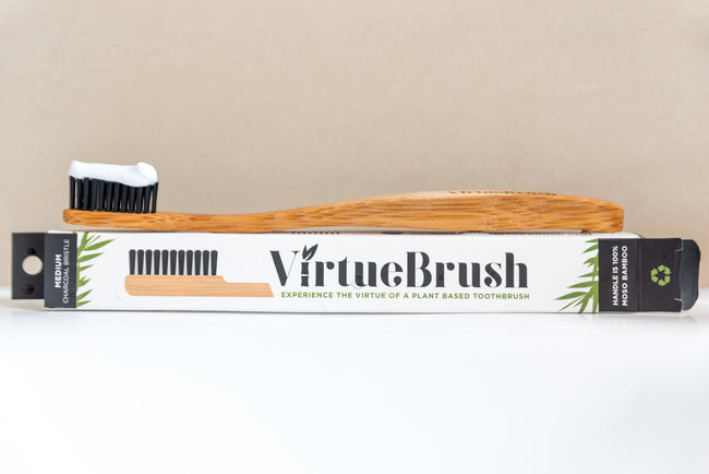 VirtueBrush - Adult Size - Activated Charcoal Bamboo Toothbrush – Soft or Medium