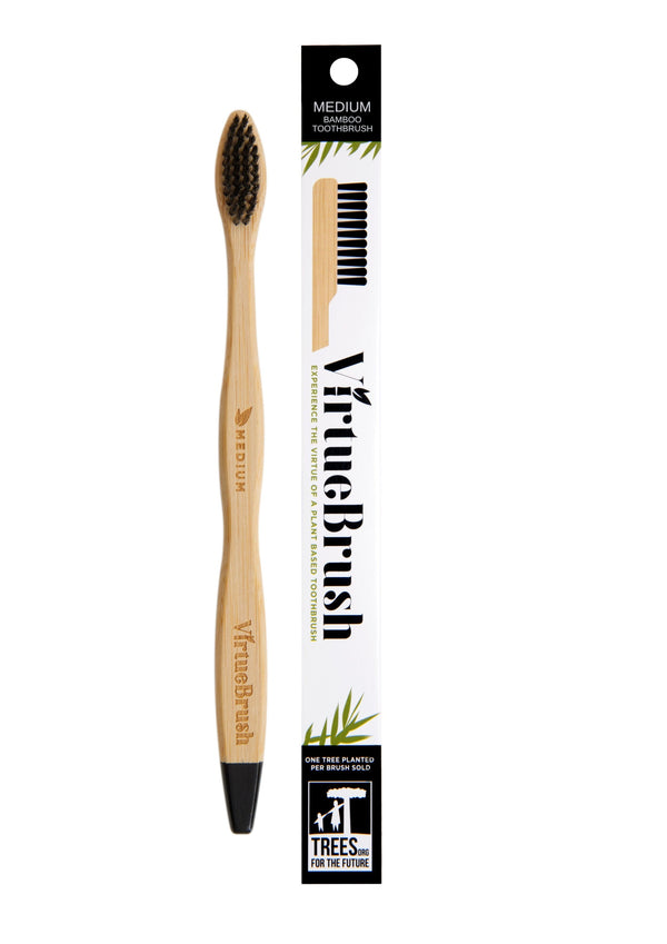 VIRTUEBRUSH - ADULT - DIAMOND HEAD FLOSS TIP BAMBOO TOOTHBRUSH – MEDIUM