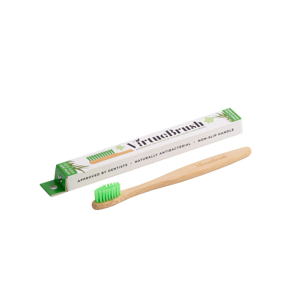 VIRTUEBRUSH - KIDS SIZE - BAMBOO TOOTHBRUSH - SOFT - GREEN