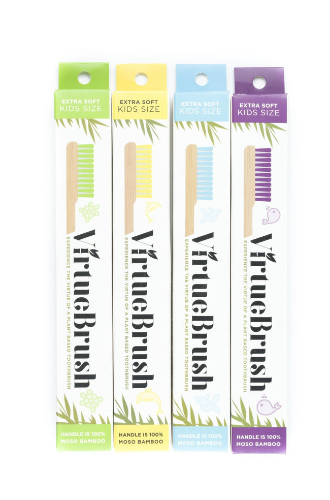 4 Pack - VirtueBrush - Kids Size - Bamboo Toothbrush - 4 Colour Mix