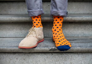 bamboo socks, slopes and town, slopes&town, bamboe sokken, heren sokken, mens socks, orange socks