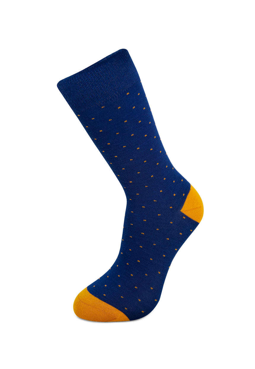 Blue and Mustard Dots Bamboo Socks