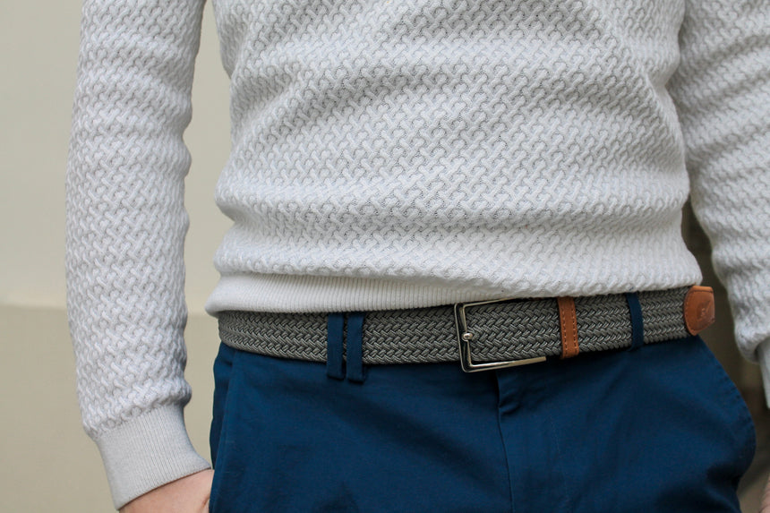 light grey belt, grey belt, Slopes and Town, Slopes&Town, grijs riem, braided belt, woven belt, elastic belt, elastisch riem, belt Michael