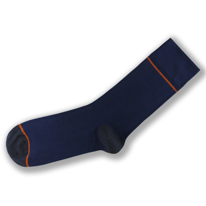 Blue and orange stripe bamboo socks
