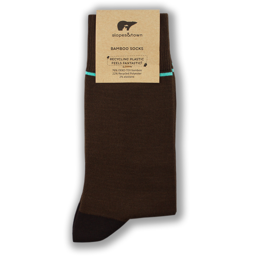 Brown and turquoise stripe bamboo socks