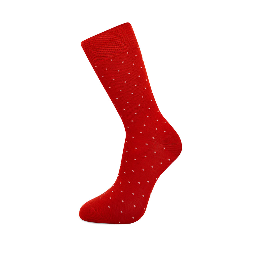Red with White Dots  Bamboo Socks