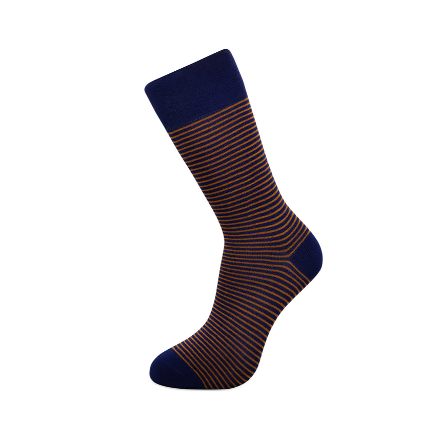 Blue with brown stripes Bamboo Socks