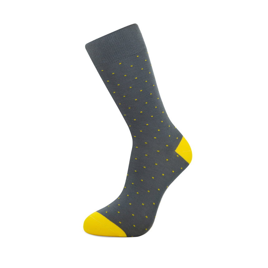 Grey with Yellow Dots Bamboo Socks