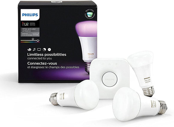 PHHUE560 Philips Hue 3-Smart Bulb Starter Kit (3 LED White/Colored Ambiance Bulbs and 1 Hub; works with Alexa, Apple Home Kit, Google Home) - digitalhome philippines