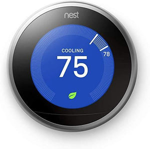 GGT300 Google Nest Learning Thermostat - 3rd Gen, Smart Thermostat, Stainless Steel, Works with Alexa - digitalhome.ph