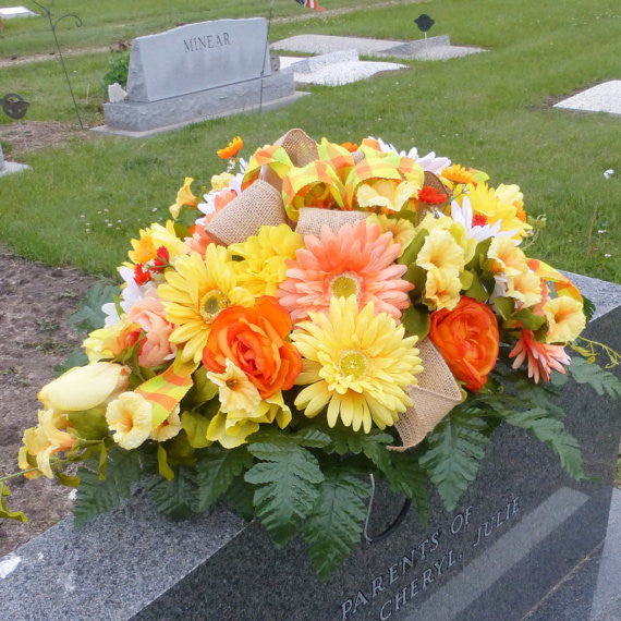 Memorial Flowers - Headstone Sprays - Funeral Flowers - Cemetery Flowers
