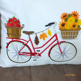 Bike Pillow cover for Fall - Embroidered bicycle pillow -October bike pillow - Accent pillows - Julie Butler Creations