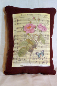 Burgundy Linen Pillow - decorative pillow - Love came Calling sheet music and rose - Julie Butler Creations