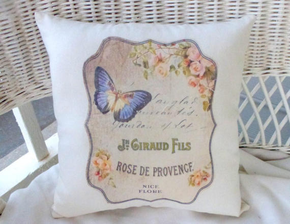 French themed accent pillow - Paris pillow - butterfly pillow - French perfume ads - Julie Butler Creations