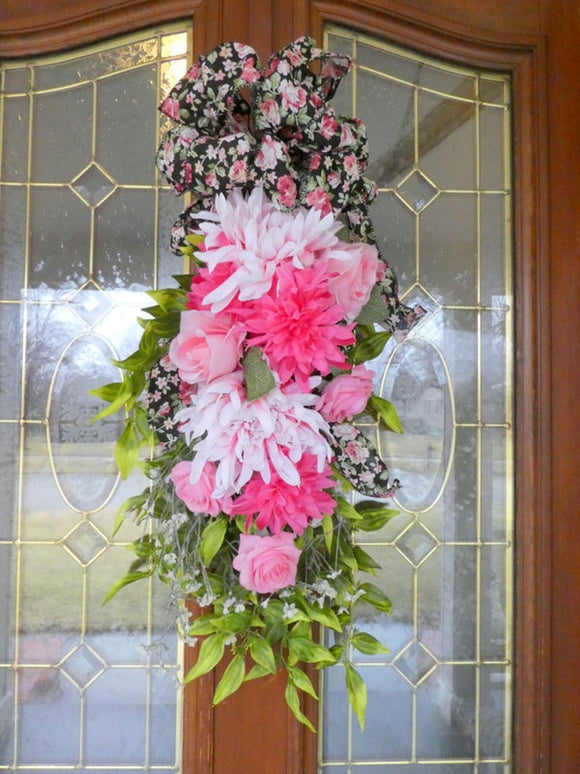 Rose Door Swag - Spring swag - Summer swag - Wreaths - Front door decor - Julie Butler Creations