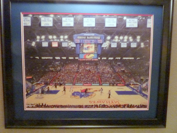 Sports picture -Framed KU University of Kansas fine art limited edition print -Jayhawk basketball