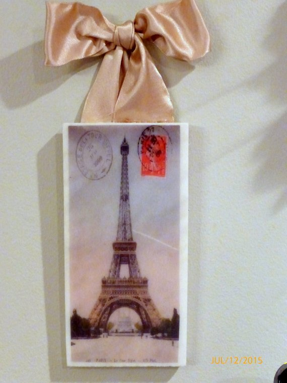 Subway tile sign - Paris pictures - Eiffel Tower - Paris Postcard