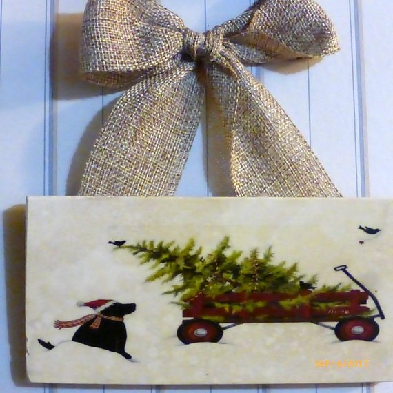 Black lab art - Christmas tile sign - Christmas gift - Red wagon - Tile sign - Christmas decoration - Julie Butler Creations
