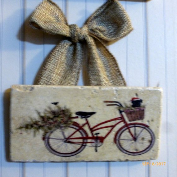 Christmas tile sign - Christmas gift - Black lab art - Red Bike - Tile sign - Christmas decoration - Julie Butler Creations