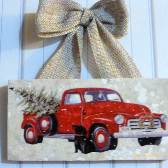 Marble subway tile sign - Christmas gift - Black lab art - Red truck - Tile sign - Christmas decoration - Julie Butler Creations