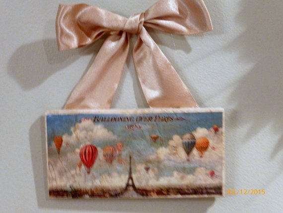 Hot Air Balloon subway tile sign - Paris - 3x6 Stone tile - Vintage French - Julie Butler Creations