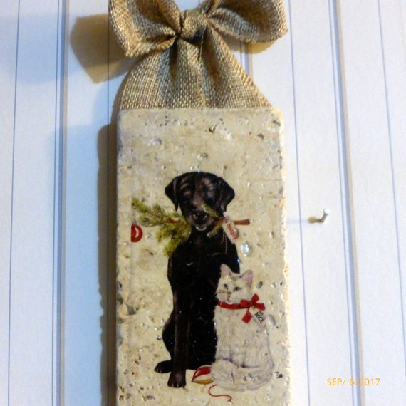 subway tile sign - Black lab art - Christmas tile sign - Christmas gift - Christmas decoration - Julie Butler Creations