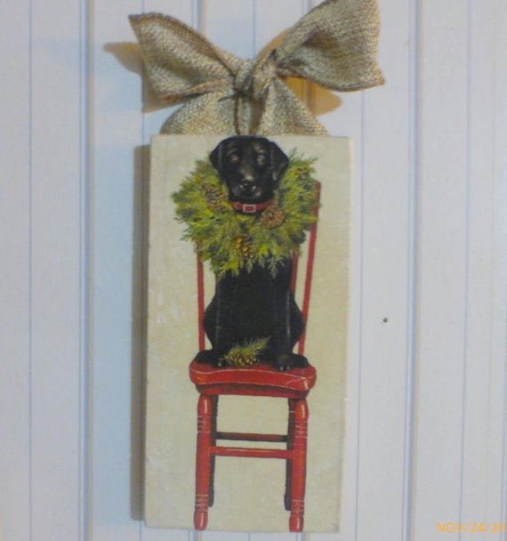 Black lab Subway Tile art - Christmas tile sign - Christmas gift - Christmas Subway tile sign - Julie Butler Creations