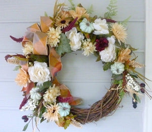 Fall Front door wreath - Autumn Wreath - fall colors - door Wreaths - decorative wreaths - Thanksgiving wreath