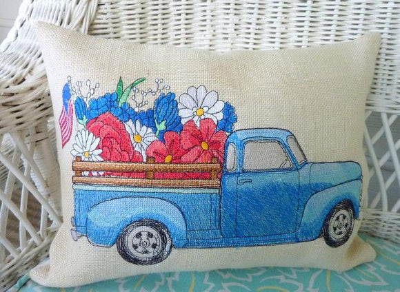 Burlap pillows, vintage pickup pillows, Embroidered pillow cover, summer pillow covers - Julie Butler Creations