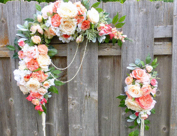 Coral wedding flowers coral ivory and white rose swag wedding coral wedding flowers coral ivory and white rose swag wedding arch wedding junglespirit Images