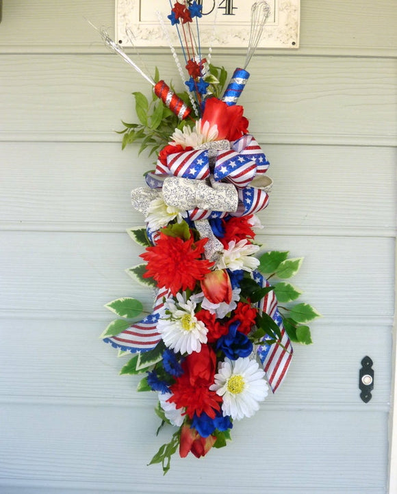 4th of July door swag - Summer door decoration - Patriotic Wreaths and swags