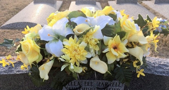Monument Flowers, headstone Saddle, Cemetery flowers, Grave site spray, memorial flowers, rose and lily headstone spray - Julie Butler Creations