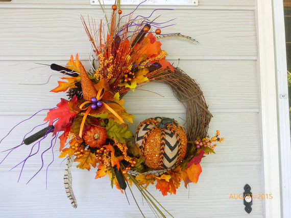 Halloween Front Door Wreath - Fall Wreath - Glittered Pumpkin Wreath - front door wreath - Julie Butler Creations