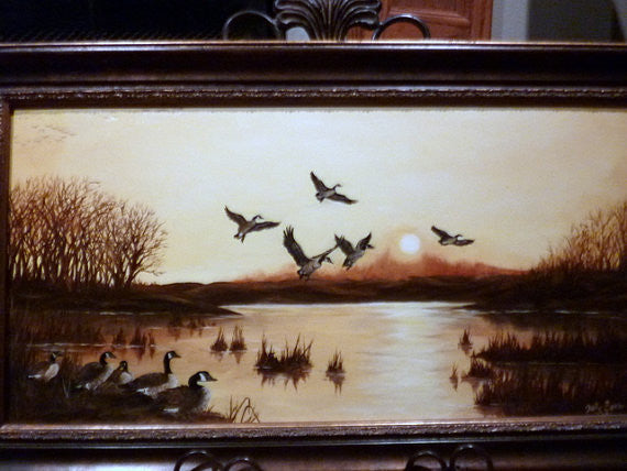Wildlife Art - Oil Painting of Canadian Geese at sunset 12x24 - original oil paintings - Julie Butler Creations
