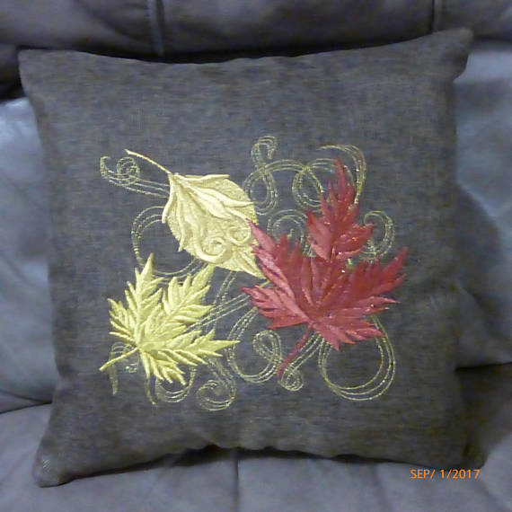 Autumn Leaves pillow - Fall decorations - Burlap pillows- Embroidered Accent Pillow