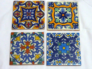 Talavera tile Coasters - Mexican tile Coasters - Decorative tile coasters - set of 4 - hand painted coasters