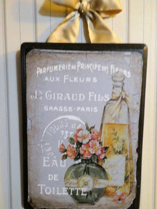 Paris Perfume Wood Plaque - Vintage Paris advertising - French Country decor - Julie Butler Creations