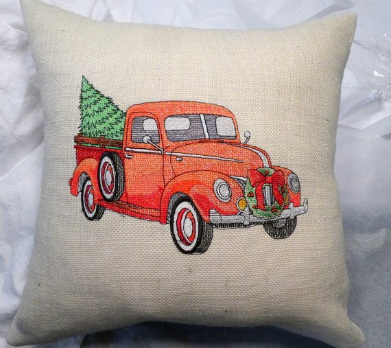 Embroidered Red Pickup Christmas Pillow - Embroidered Truck pillow cover - Julie Butler Creations