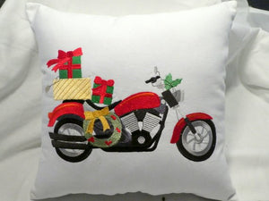 Embroidered Motorcycle pillow cover -Christmas bike pillow cover - Julie Butler Creations