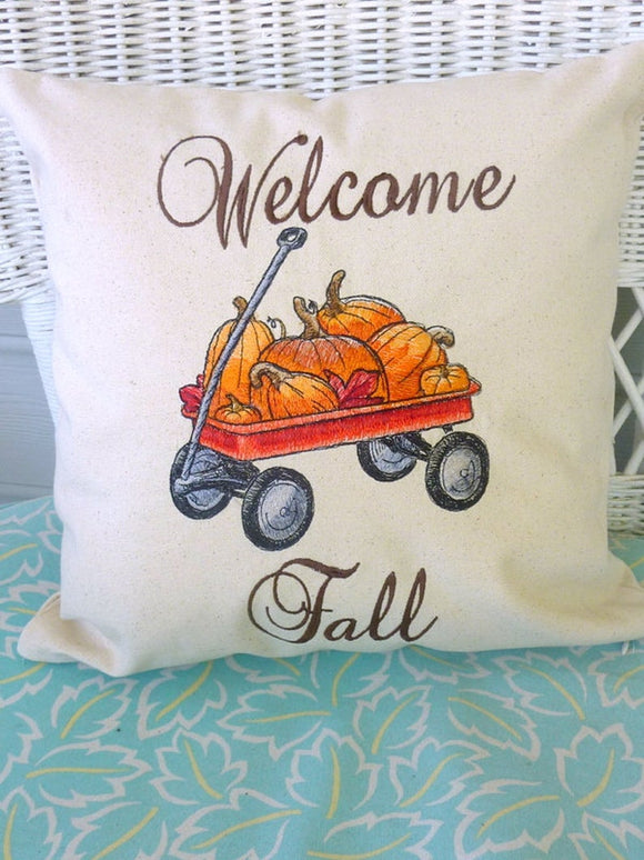 Fall Pumpkin Pillow - Embroidered Fall pillows, Embroidered pillow covers, Thanksgiving pillow cover