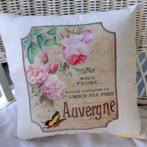 French label accent pillow - Vintage French Pillow - Pink Roses and yellow butterfly - Paris pillow - Julie Butler Creations