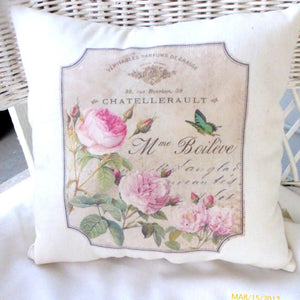 Paris butterfly pillow - French themed accent pillow - French Country decor - French perfume ads - Julie Butler Creations