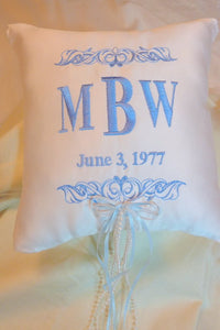 Ring Bearer Pillow - Wedding Pillow - Embroidered Ring Pillow - Personalized - Julie Butler Creations